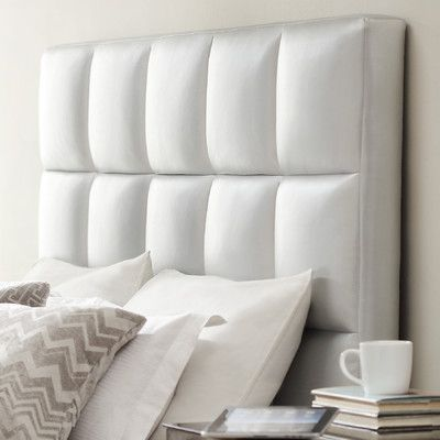 House of Hampton Redhill Upholstered Panel Headboard Upholstery: Silver, Size: Queen