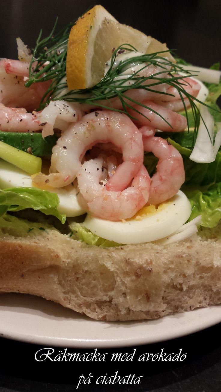 Prawn sandwich with dill mayo, egg, gem lettuce, avocado and spring onions on ciabatta bread