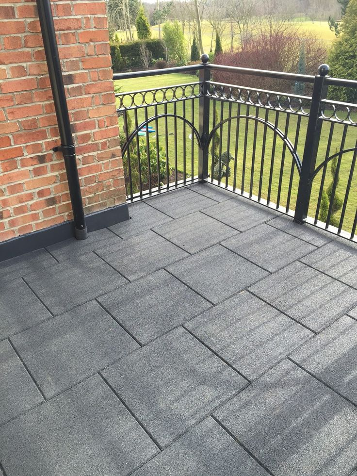 Use promenade tiles made from recycled rubber for balconies. They're easy to lay, low cost and durable, as well as being safe and comfortable.