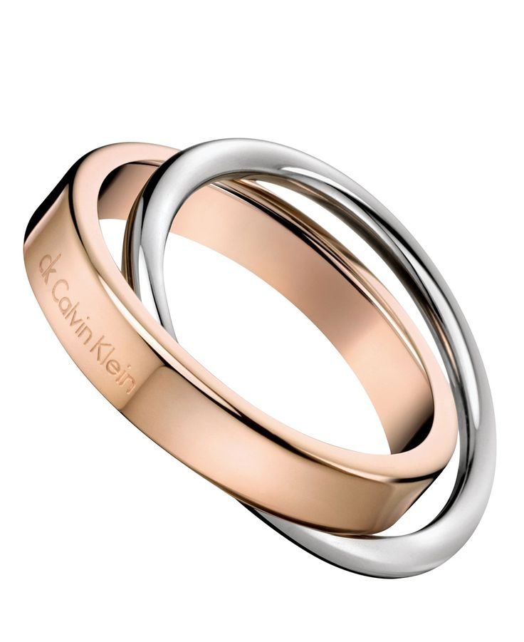 ck Calvin Klein Ring, Two-Tone Stainless Steel Linked Ring - All Fashion Jewelry - Jewelry & Watches - Macy's