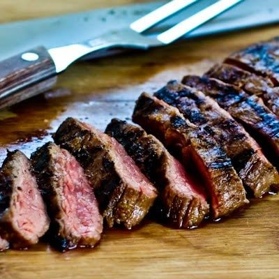 Grilled Cuban Flank Steak by kalynskitchen: Marinated with lime, cumin, oregano, onion, garlic, soy sauce and chipotle chile powder #Cuban_Flank_Steak #kalynskitchen! food