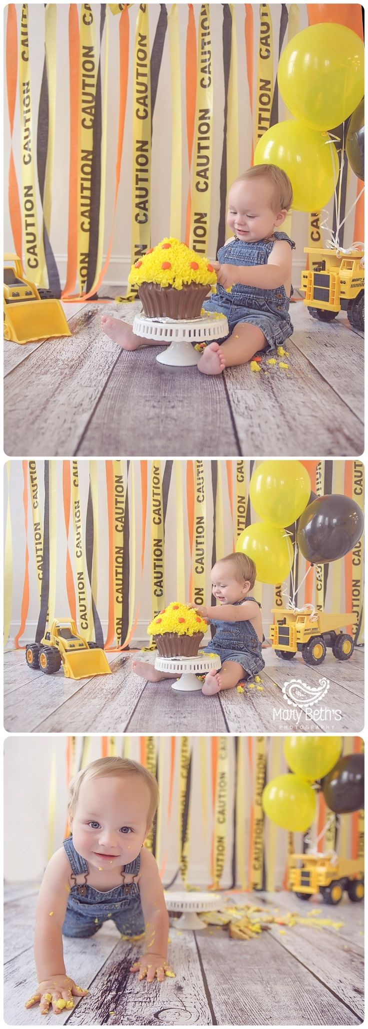 """Andrew's """"Bob The Builder"""" 1st Birthday and Cake Smash Portraits for Mary Beth's Photography in Augusta, GA 