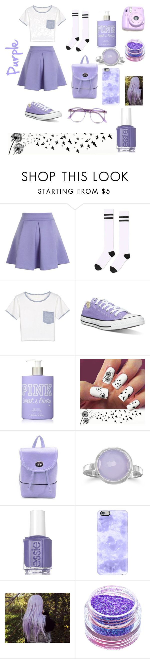 """""""purple for the purple contest"""" by libertyflawless ❤ liked on Polyvore featuring Chicwish, Topshop, WithChic, Converse, Victoria's Secret, BillyTheTree, Essie, Casetify, Polaroid and Warehouse"""