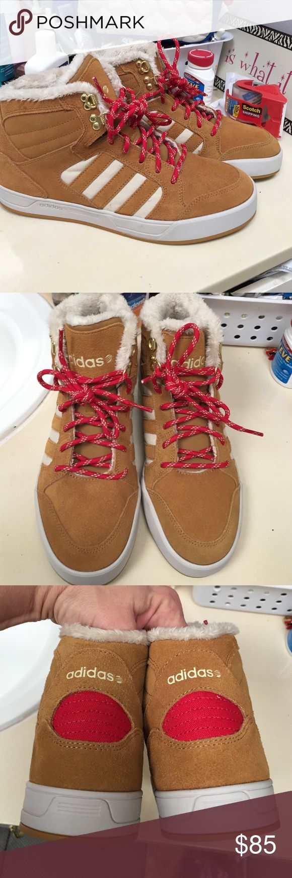 Adidas NEO Hightops Brand new. Adidas tan Ortholite NEO Hightops. Super cute. Size 9 Adidas Shoes