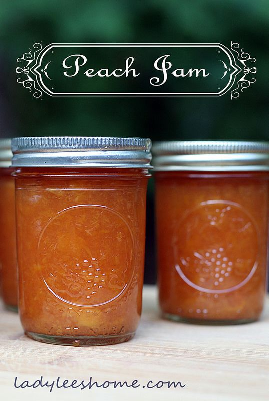 Peach Jam - less sugar, no store bought pectin, no water bath for the jars. Lady Lee's Home. #LadyLeesHome