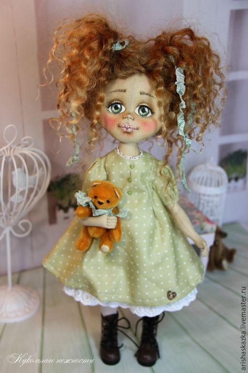 Купить Алексия . Кукла авторская текстильная . Кукла ручной работы . - мятный, зелёный, зеленый, белый