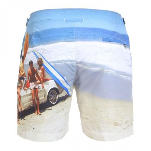 MID-LENGTH NYLON BOARDSHORTS WITH PHOTO PRINT - Bulldog Nylon boardhshort with photo print, two pockets on the front and one on the back with zip fly. Adjustable side straps with metal buckle, internal mesh, zip and button fly. #orlebarbrown #mrbeachwear #photo #printing #boardshorts #mens #summer #newarrivals #fashion