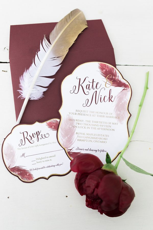 burgundy feather wedding invitations - photo by Rosenlee Photography http://ruffledblog.com/glamorous-country-chic-wedding-inspiration