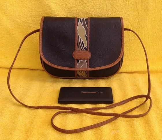 Round She Goes - Market Place - Vintage LEONARD Made in Italy Small Black Coated Canvas Leather Trim Cross Body