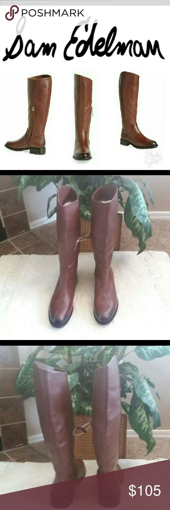 """🆕🔥Sam Edelman Ryan Riding Boots Brand New and super cute!   Sizing: True to size.  - Almond toe - Leather construction - Topstitched detail - Partial side zip closure - Lug sole - Approx. 15"""" shaft height, 14"""" opening circumference - Approx. 1.5"""" heel - Imported Materials-Leather upper, synthetic lining and sole Sam Edelman Shoes Winter & Rain Boots"""