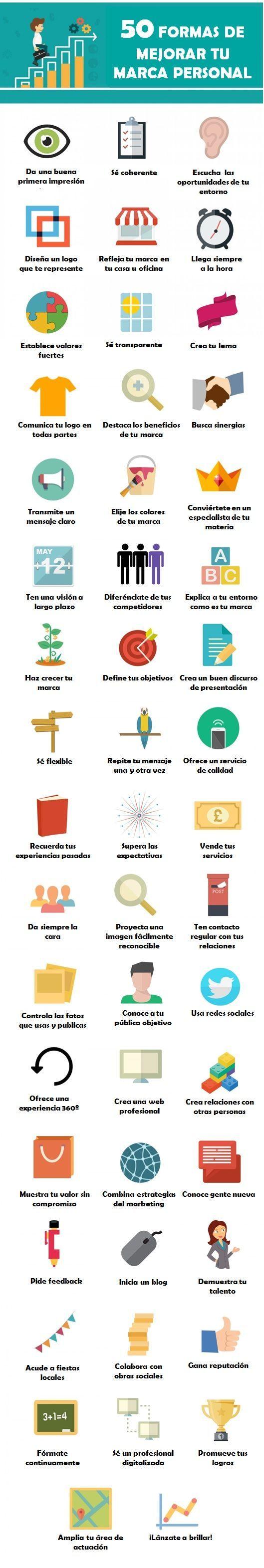 Hola: Una infografía con 50 formas de mejorar tu Marca Personal. Vía Un saludo