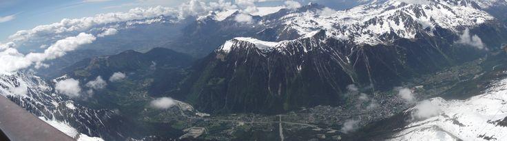 panoramic view of Chamonix, Mont-Blanc city.