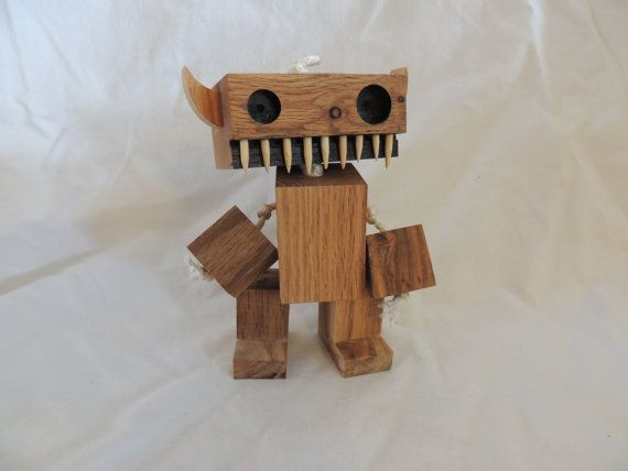 Wooden Monster Robot by WoodPlaneAndSimple on Etsy
