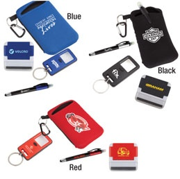 G108: The Workplace  Office Essentials Gift Set  O113: The Convenient Portable and compact electronics stand and screen cleaner  L989: The Read Magnifying glass key ring  O136: The Accent3-in-1 touchscreen stylus, highlighter and pen  B461: The Active Sports Pouch  Neoprene mobile phone holder and zippered pouch  Available in: Black, Blue and Red