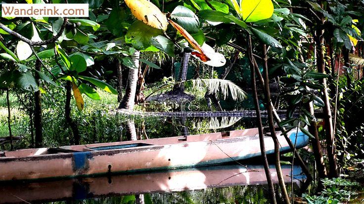A parked canoe