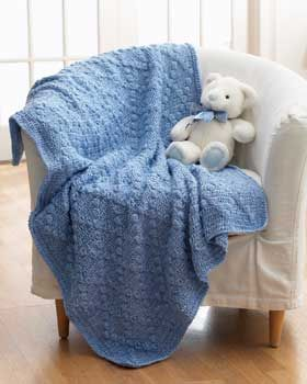 This baby blanket looks great in solid shades of Bernat Baby Coordinates, showing off the fun textured stitches.