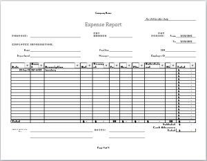 company expense report template at word-documents.com