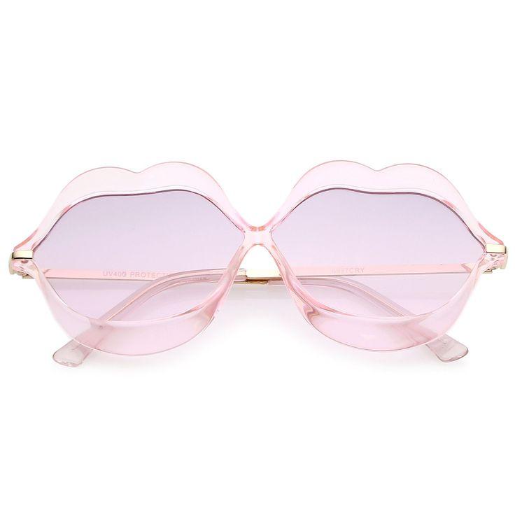 Oversize Transparent Lip Shape Frame Metal Temples Gradient Lens Novelty Sunglasses 63mm