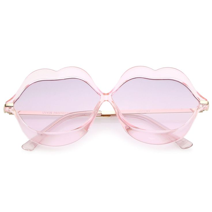 Oversize Transparent Lip Shape Frame Metal Temples Gradient Lens Novelty Sunglasses 63mm  #sunglass #oversized #frame #sunglasses #bold #summer #mirrored #womens #sunglassla #cateye