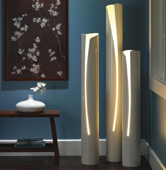 "PVC DIY Floor Lamps.  These are 6"" PVC pipes. You make a cutout along the side using a jigsaw. For illumination, you will need lamp parts; ask your friendly hardware sales assistant for advice - ( or use ""up lights"")"