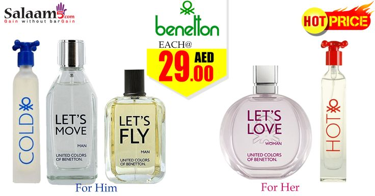 Benetton Perfume Deals at Unmatchable Prices only @ www.salaam5.com. 100% Genuine Products.  Benetton Perfumes For Him &  Her. Each @ 29 aed  Lowest price. Hurry up Visit -http://goo.gl/S36zwZ  #Benetton #fragnances #perfume #offer #deals #UAE #dubai