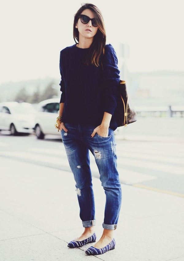 Tricot and Boyfriend Jeans
