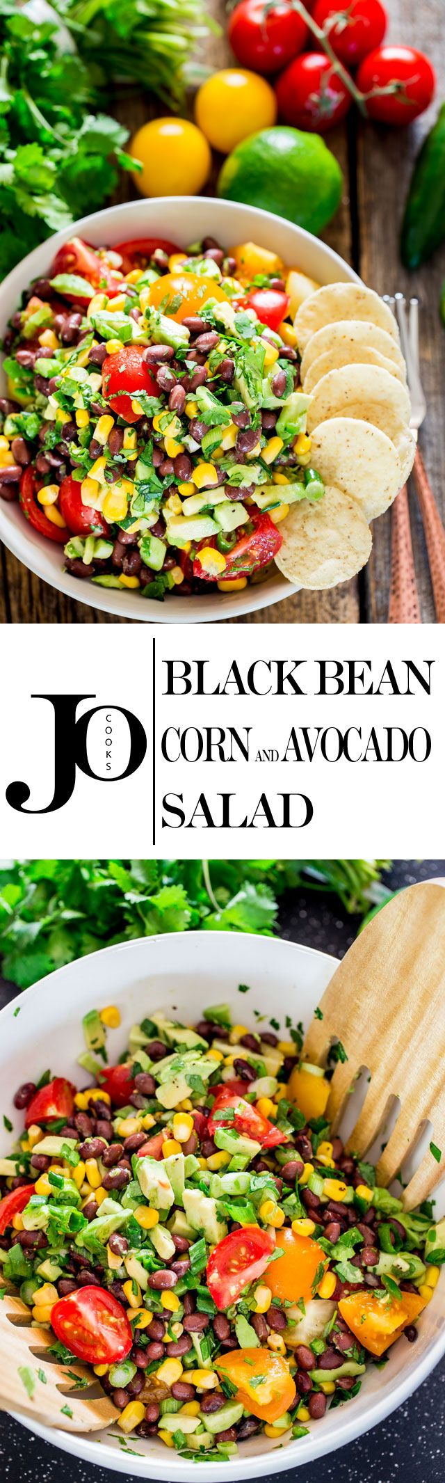 This black bean, corn and avocado salad is a crowd pleaser, colorful and full of nutrition. This salad is great served as an entree, side or even a delicious salsa.