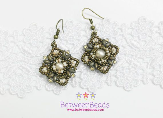 Beautiful earrings made with Japanese Seed Beads and a Swarovski Pearl.  The technique used is beadwork or beadweaving. They are 100% handmade, the beads were sewn by hand one at a time and they come from Japan; these have the best quality you can find in the market.  ****ONLY ONE PAIR AVAILABLE****  They are perfect to give as a gift, or maybe a treat for yourself.  Storage: Try to keep them on a soft surface or inside a small plastic bag so the beads/crystals will not be scratched. Spe...