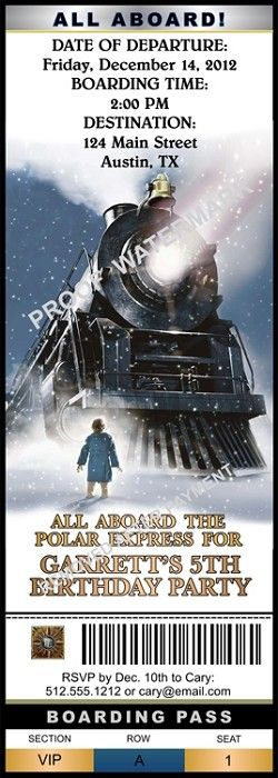 Custom Polar Express Birthday Party Ticket Invitation- Design Online