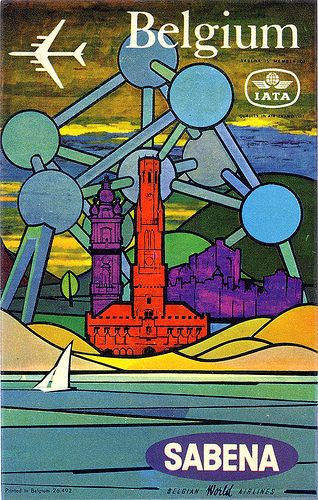 Vintage poster - Belgium, Sabena, Belgian Airlines. The Atomium, one of Belgians' most beloved icons.