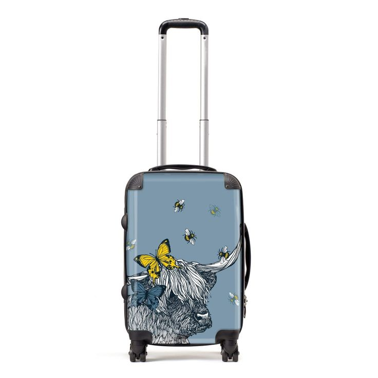 Stand out from the crowd and celebrate your Scottish-ness, wherever you are in the world! A highland coo with a big personality, Lola wears butterflies in her hair and has a halo of buzzing bees. In beautiful colour palette of bluey-grey with a pop of yellow, this Gillian Kyle designer suitcase will be the envy of the baggage carousel!Our luxury lightweight suitcases come in a range of sizes.**OUR SUITCASES ARE MADE TO ORDER AND WILL SHIP TO YOU IN AROUND 1 WEEK**