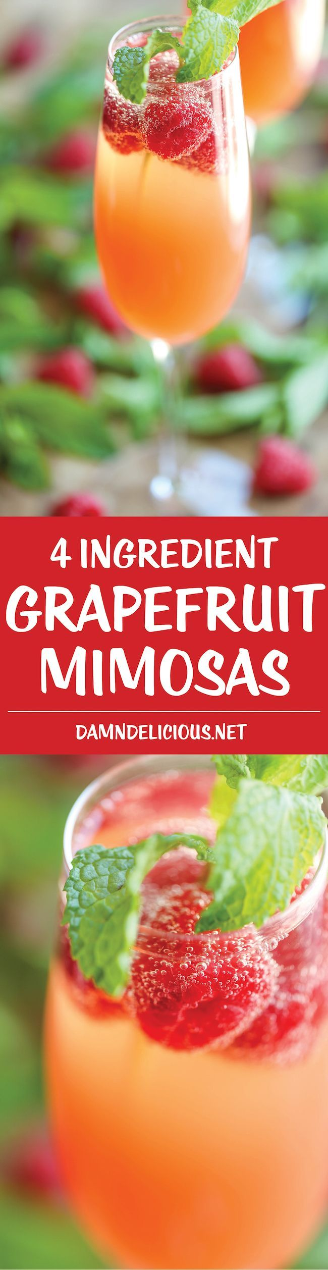 Grapefruit Mimosas - Easy peasy with just 4 ingredients (2 are actually optional garnishes!) and 5 min prep. Fun, fruity, and perfect for any occasion!