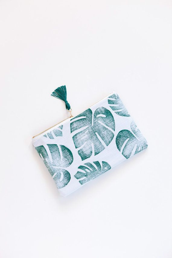 Tropical zipper pouch clutch palm leaf on von confettiriotshop