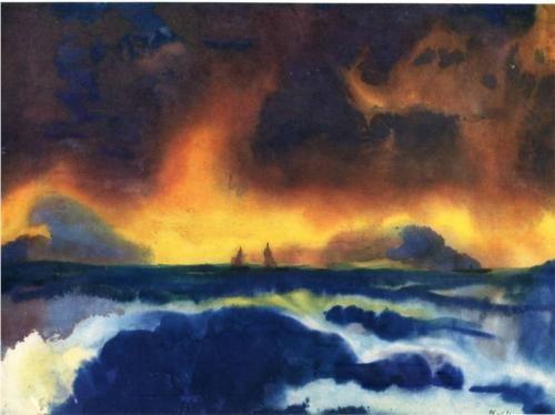 Stormy sea - Emil Nolde, watercolor http://paintwatercolorcreate.blogspot.com/2013/08/the-vibrant-watercolors-of-emil-nolde.html