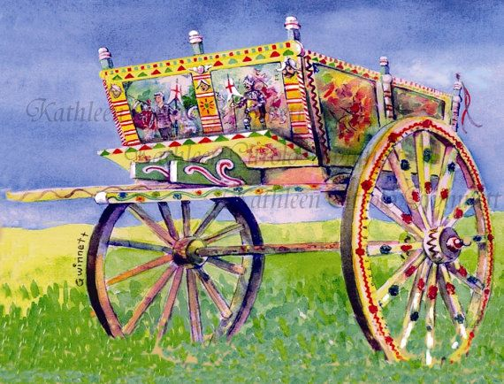 Caretto Siciliano  Sicilian Cart  Sicily  by KathleenGwinnettArt, $30.00