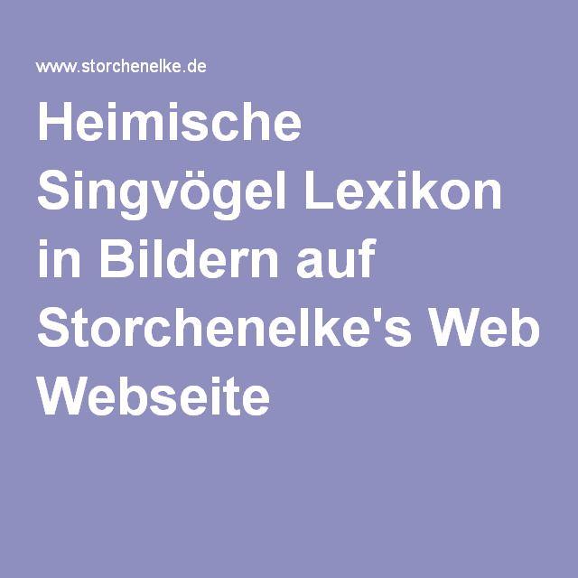Heimische Singvögel Lexikon in Bildern auf Storchenelke's Webseite