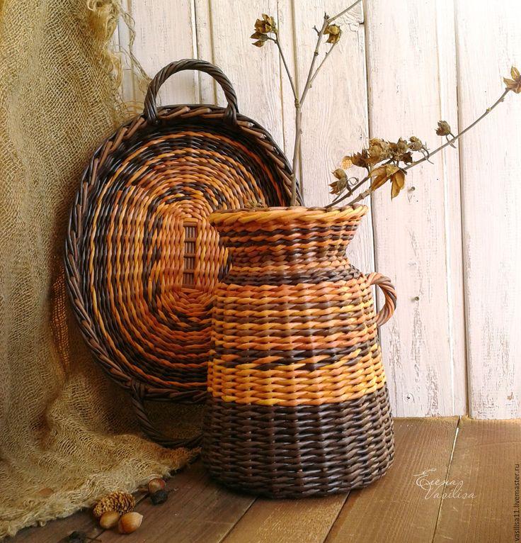 Купить Кувшин и поднос, набор плетеный 'Неповторимый' - плетеный кувшин, плетеный поднос