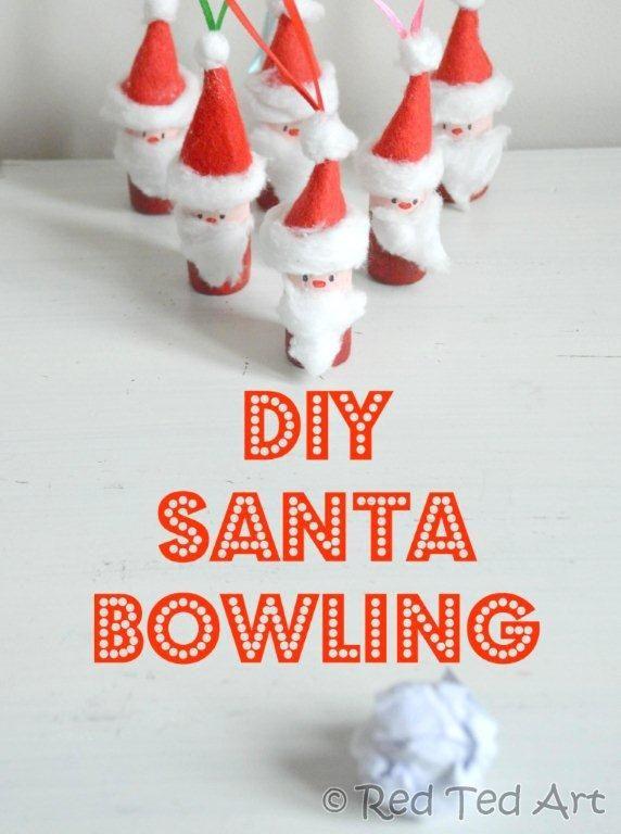 Santa Bowling - make these fun Santas as Tree Ornaments.. or play a game of paper snowball and Santa Bowling... via www.redtedart.com