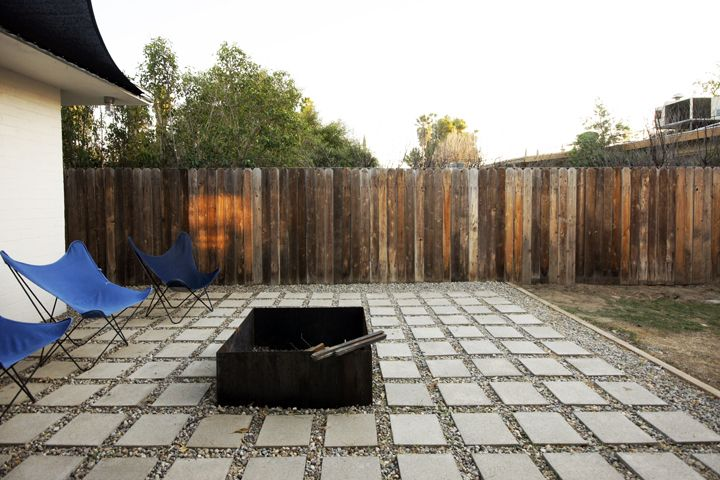 cement paver & gravel patio- idea for under our deck.