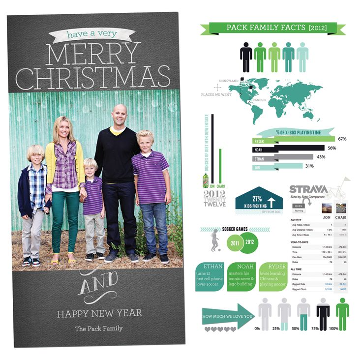 Family Christmas Card | Infographic loving the info graphic Christmas card idea!