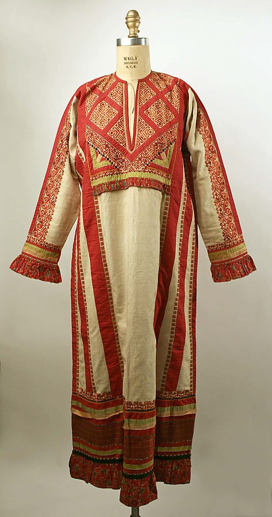Dress, Russian  19th Century  Linen, cotton  Metropolitan Museum of Art