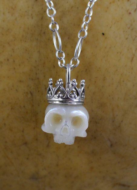 White Carved Skull Pearl Wearing Sterling Silver by ArloEdgeWalker