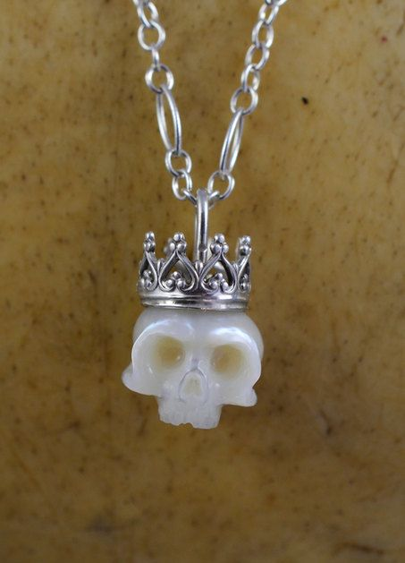 White Carved Skull Pearl Wearing Sterling Silver by ArloEdgeWalker