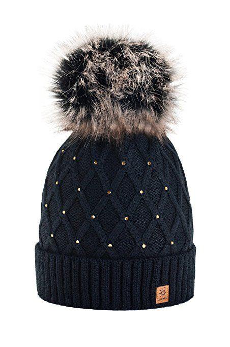 Women Girls Winter Beanie Hat Wool Knitted Crystal with Large Pom Pom Cap Ski Snowboard Hats (Black) MFAZ Morefaz Ltd