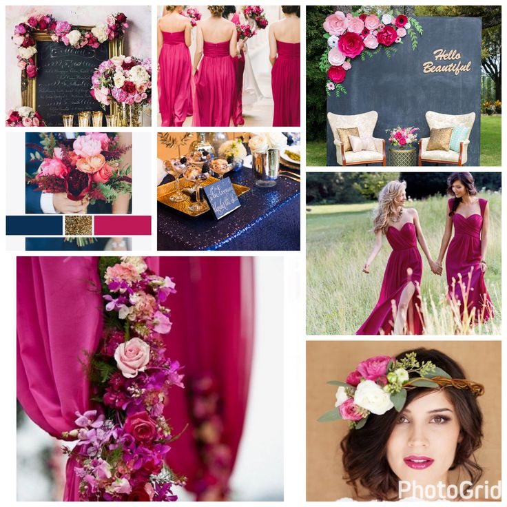 Raspberry, Navy Blue, and Gold Wedding Color Scheme
