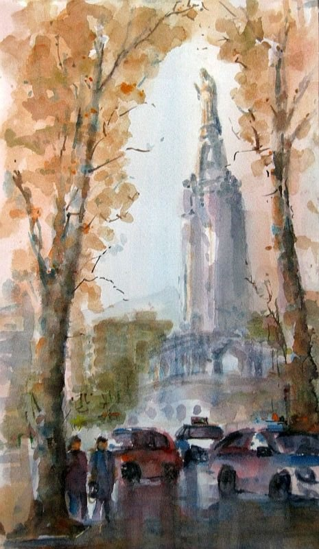 The Sacred Heart, Bilbao,watercolour by Nusret Topuzoglu, Turkey.Available bpbilbao@gmail.com