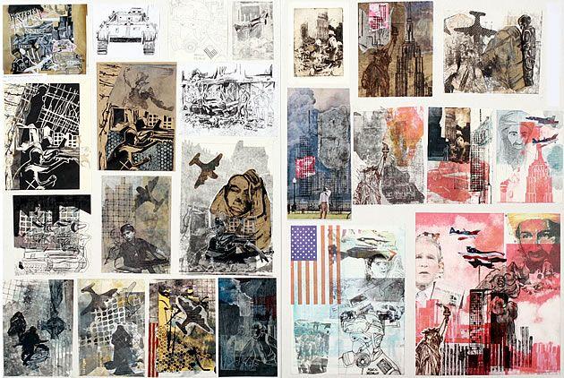 AP Concentration Topics NCEA printmaking - terrorist theme