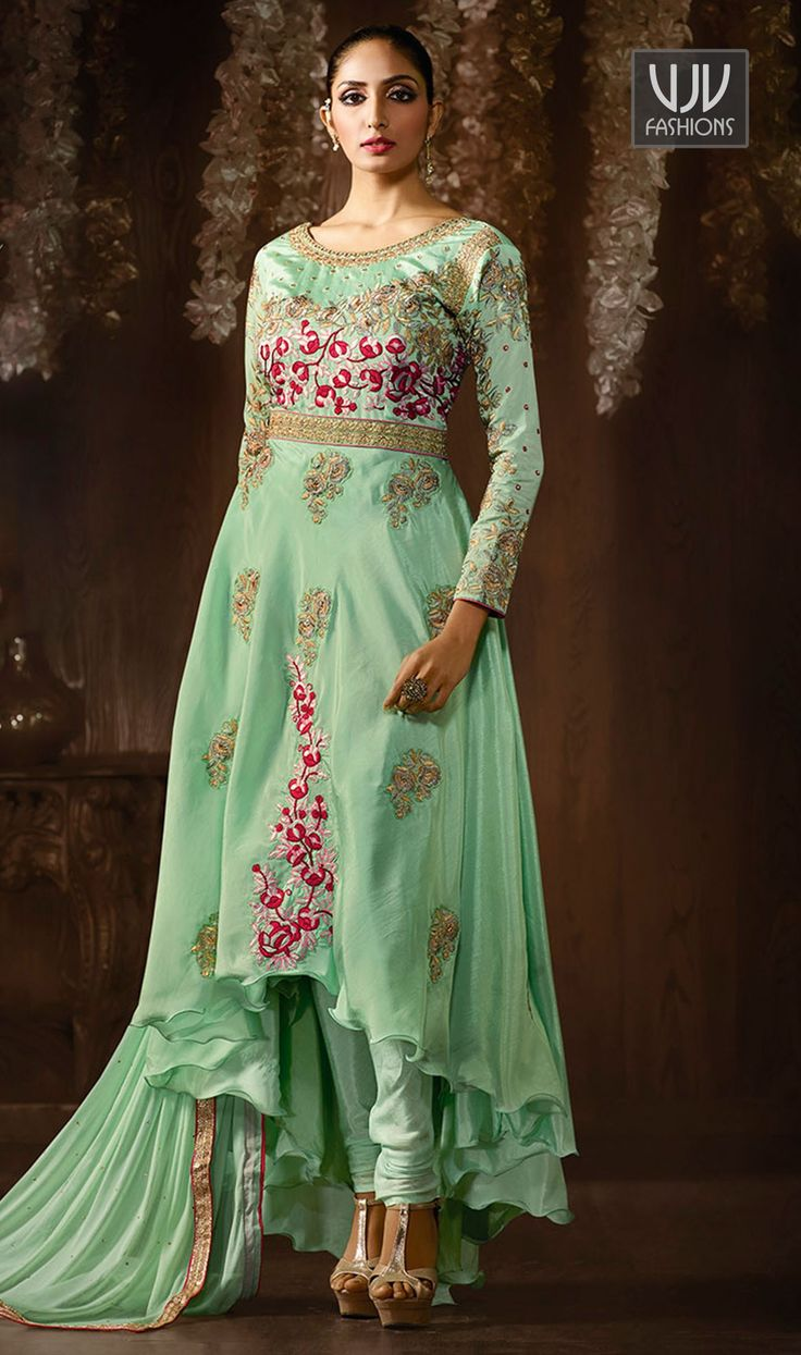 Catchy Sea Green Color Raw Silk Designer Anarkali Suit An remarkable sea green color raw silk designer anarkali suit will make you appear highly stylish and graceful. The embroidered work appears chic and ideally suited for festival and party.