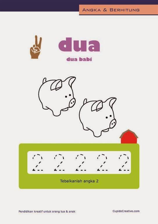 belajar angka paud (anak balita/TK), berhitung 1-10, mewarnai gambar babi