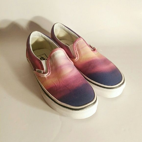 Flash Sale❗Vans Slip-On Colorful Vans Sunset inspired. They have never been worn, but they came with a stain in thev inside as seen the second picture. However, no one will that!  Brand new! No trades! Vans Shoes Sneakers